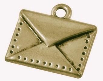 Pendant, Antique Brass Envelope Charm, 15x14.5x2mm - 6 pcs