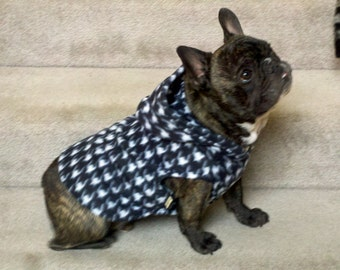 French Bulldog Black and White Houndstooth Fleece Hoodie
