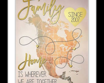 Gift for parents, christmas gift for parents, anniversary gift, mom, dad, parent gift, family names, locations, family sign, art print, mosh