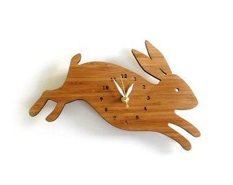 Leaping Rabbit wall clock with numbers
