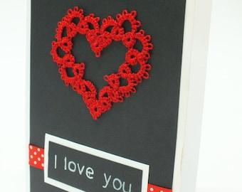 Heart Lace Card Lovers Card I love You Card  Valentines Card Tatting Red Heart Card I Love You Lace Card Saint Valentines Day Blank Card