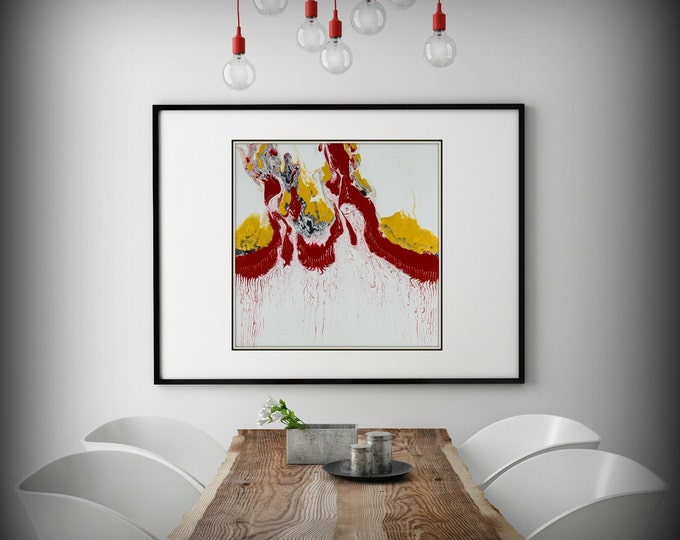 "Large White,Red and Yellow Abstract Print of Modern Painting, Expressionist Print ""Freedom"" Livingroom Painting, Office Wall Art"