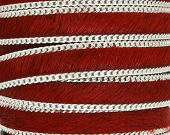 Leather hair chain Red 10 mm, sold by 20 cm