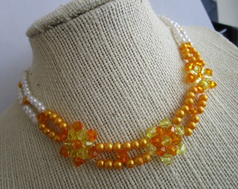 Beaded Choker - orange bead choker - choker jewelry - necklace jewelry - beaded chokers jewelry - flower beads chokers - necklace chokers