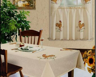 3-piece Beige Farm Rooster Kitchen Window Curtain Set Drapes Cafe Tier & Swag