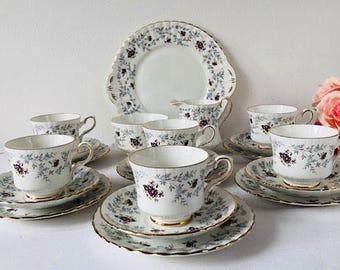 Royal Stafford 'Enchantment' Tea Set, Violets, 21 Pieces, Staffordshire, 1950s.