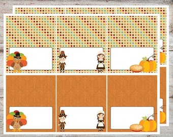 Thanksgiving Turkeys and Pilgrims Food Tent Place Cards INSTANT DOWNLOAD Editable