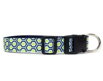 1 Inch Wide Dog Collar with Adjustable Buckle or Martingale in HoneyComb Navy