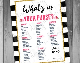 Instant Download What's in Your Purse Baby Shower Game Girl Baby Shower Gold Glitter Baby Shower Printables Black and White Flower Baby