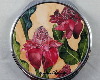 """Torch Ginger Flower, 3"""" round compact mirror,Made in Hawaii"""