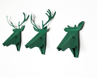 Set of 3 faux deer head, faux taxidermy , greeting card, green pool