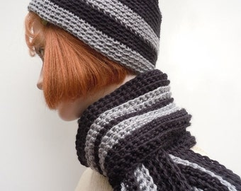 Women's or Boy Sized Black and Gray Hat and Scarf Set - Crocheted Hat and Scarf Set - Black and Gray Set - SHOW
