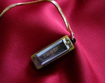 Silver Harmonica Necklace