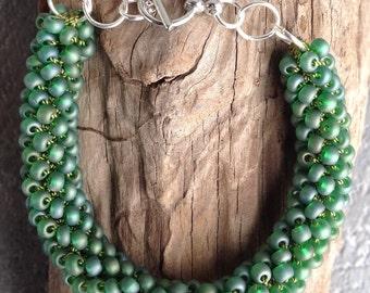 Crochet, crochet rope bracelet, green bracelet, rope bracelet, crochet beaded bracelet, crochet bracelet, crochet jewelry, green bracelet