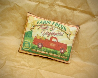 Farm Fresh truck pillow | Farmhouse pillow | Rustic truck decor | Delivery Pick up truck print | Rustic home decor | Farm pick up truck