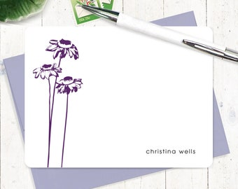 Personalized Note Card Set - personalized stationary - coneflower stationery - nature - flowers - set of 12 flat note cards - CONEFLOWER