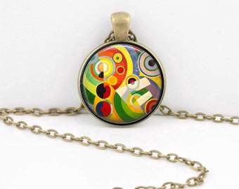 Abstract Art Delaunay Artist Pendant Necklace Inspiration Jewelry or Key Ring