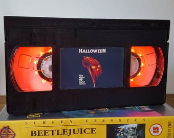 Retro VHS Lamp Halloween 1 Night Light Table Lamp, Horror Movie . Order any movie! Great personal gift. Man Cave, Office, Mothers Day