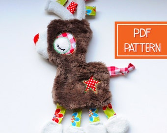 Lovey, Security Blanket | Baby Lovey Reindeer Sewing Pattern | PDF Toy Pattern, Plush Pattern, Christmas Softie Pattern, Baby Shower Gift