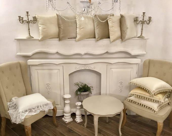 Pillows in Italian shabby ivory and grey cream velvet