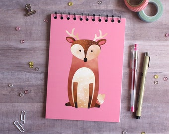 NOTEBOOK. A5 Cute Deer Spiral Notebook. Soft 300 gsm Card Cover. 100 lined pages. Matte lamination pleasant to the touch.