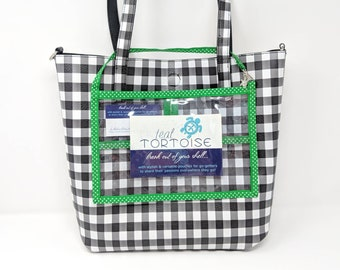 """Horizontal Catalog Holder - 6""""h x 9""""w - Small Catalog Holder - Clear Vinyl pouch with Strap and Lobster Clasp"""