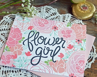 Flower Girl Card, Wedding Party Card, Floral Wedding, Thank You Card, Greeting Card, Notecard, Floral Notecards, Bridal Party, Note Card