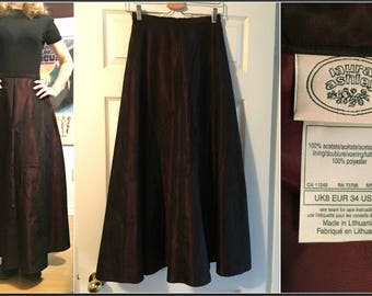 Vintage Laura Ashley Formal Maxi Skirt in Wine - Size 4 - FABULOUS!