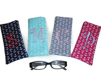 Bridesmaid Gift, Personalized Eyeglass or Sunglass Case, Monogram Embroidered Letter, Anchor Eyeglass/Sunglass Case, Gift for Women