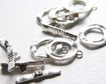 6 sets Oxidized Silver Tone Base Metal Toggle Clasps (16337Y-K-231)