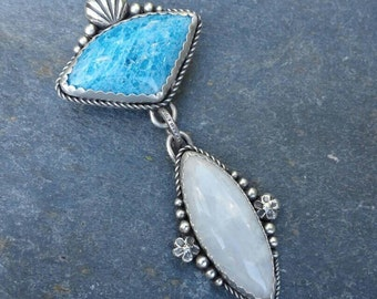 Reserved for J ~ payment 1 ~ Apatite, Rainbow Moonstone and Oxidized Sterling Silver Pendant with Argentium Granulation, Shell and Flowers