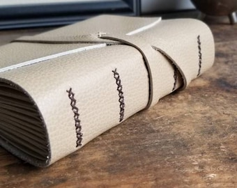 Handmade Leather Journal, Light Brown 4.75 x 6 Journal by The Orange Windmill on Etsy 1834