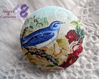 Fabric button, bird, 0.94 in / 24 mm
