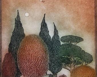 Rabbit's Peak, original etching, limited edition