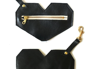 Leather Heart Coin and Card Case with Swivel Clasp - Black or  Leopard Print