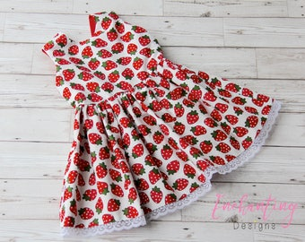 Strawberry Dress, Birthday Dress, Strawberry Party Dress, Cotton Dress, Girl's Party Dress, Girls Dresses, Toddler Dress, Strawberry Dress