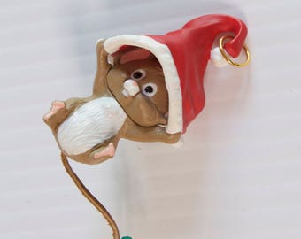 Vintage 1989 Hallmark Hang in There Chipmunk with Santa Hat Christmas Ornament