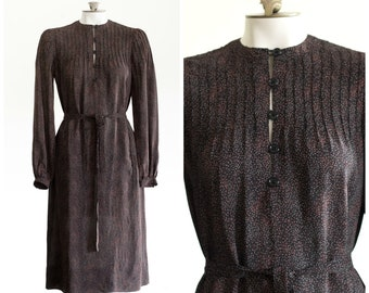 1970s dark brown long sleeve belted dress with pockets from Albert Nipon