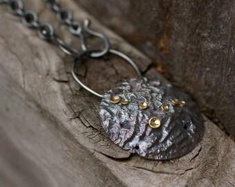 Lichen Lunar Focal Centerpiece Pendant Sterling Silver 18 Karat Gold Recycled Metal
