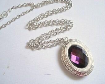 Silver Locket Amethyst Locket Bridesmaid Locket Silver Locket Jewelry Wedding Necklace