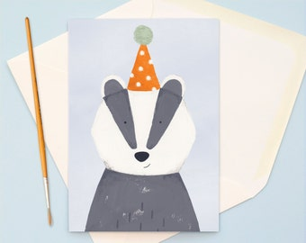 Mr Badger Party Hat Hand Illustrated A6 Birthday Card