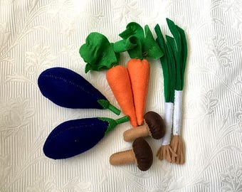 Set of felt foods vegetables Garden--Kitchen toys--Play Food-Play cafe Birthday gift for baby--toddler Educational toys--felt vegetables s