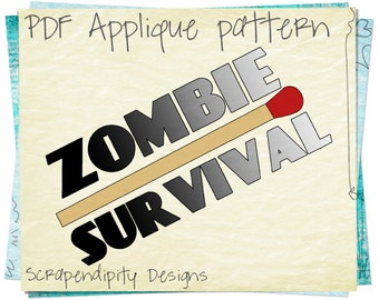Zombie Applique Template - Matchstick Applique Pattern / Zombie Shirt Pattern / Zombie Clothing Design / Applique Quilt / Scrapbook AP77-D