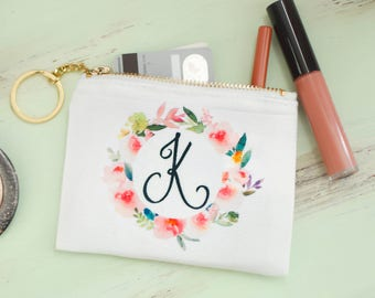 Monogram Keychain Wallet, Floral Personalized Key Chain, Bridesmaid Christmas Gifts under 10 (SB01)