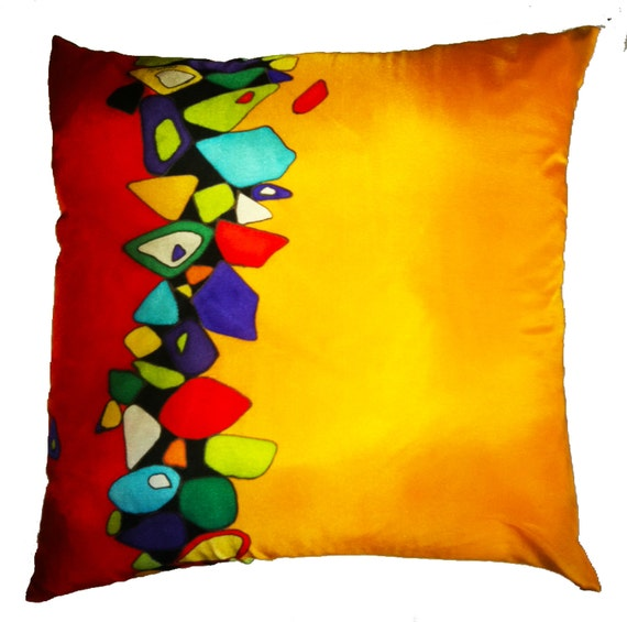 TUMBLING DOWN -Decorative Hand Painted Silk Pillow - - Made to Order