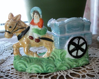 Ca. 1960's Lustre Ware Donkey, Cart & Woman Ashtray Stamped and Embossed Made in Japan