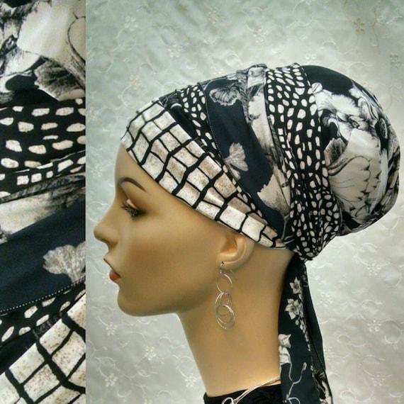 NEW**Gorgeous Black and off white sinar tichel, tichels, head wrap, head scarf, Jewish head covering, hair snood, chemo scarf, alopecia,