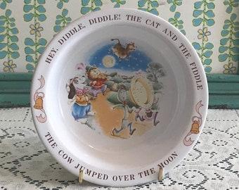 Hey Diddle Diddle Nursery Rhyme Vintage Avon Children's Bowl