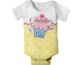 Cupcake Baby Bodysuit, Personalized , Infant Girl One-Piece