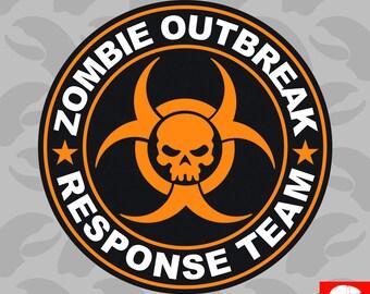 Orange Zombie Outbreak Response Team Sticker Self Adhesive Vinyl hunting united states - C023